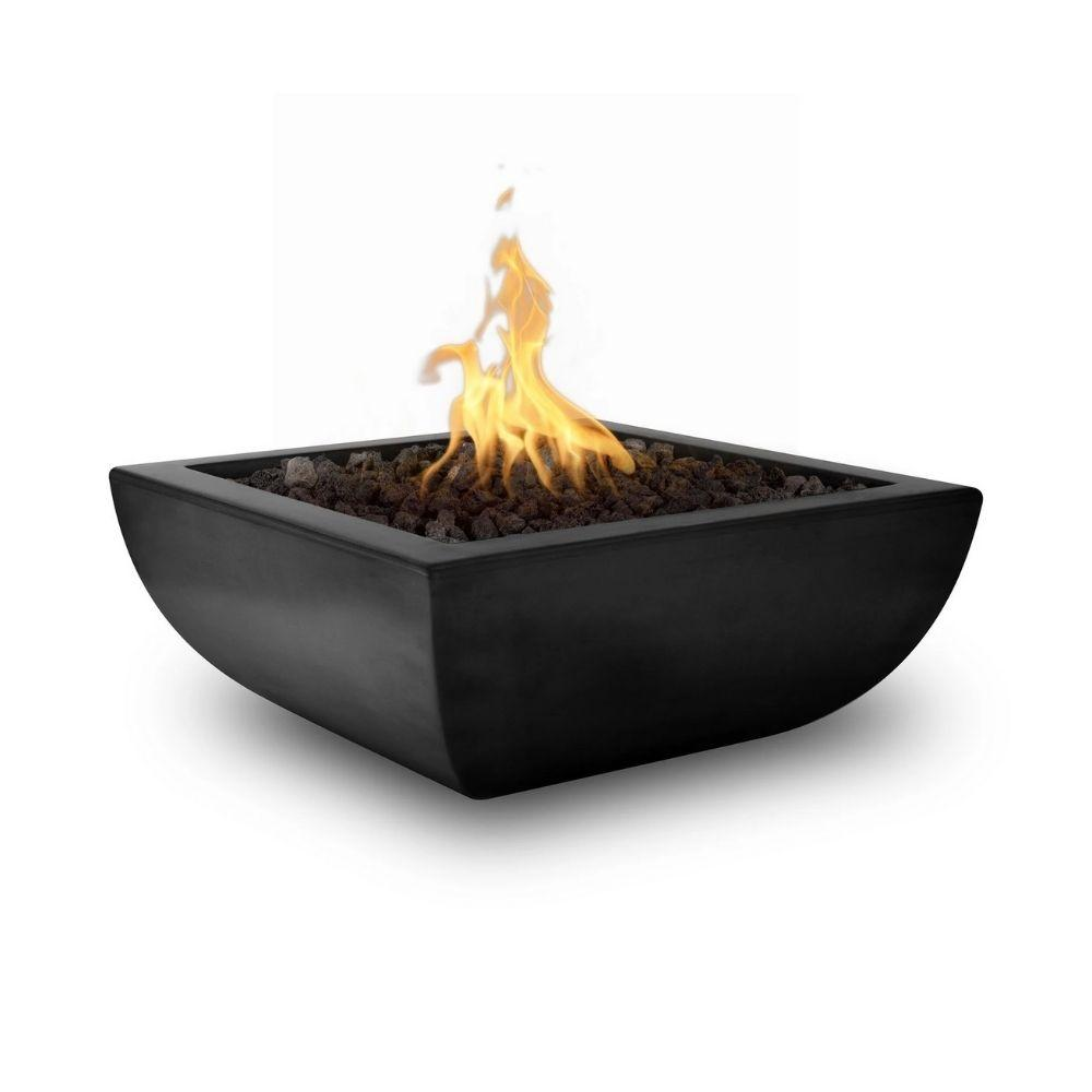 "Top Fires Avalon 36"" Square Concrete Gas Fire Bowl Black"