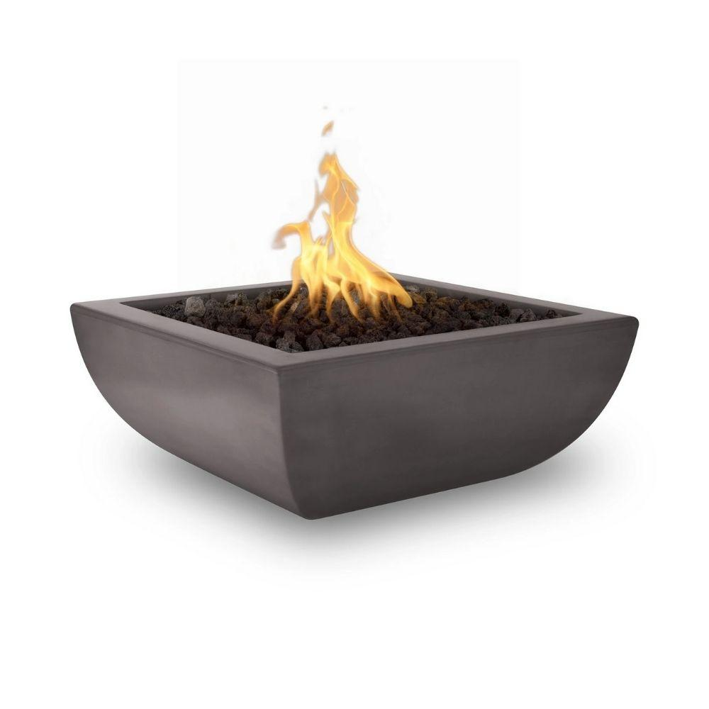 "Top Fires Avalon 36"" Square Concrete Gas Fire Bowl Chestnut"