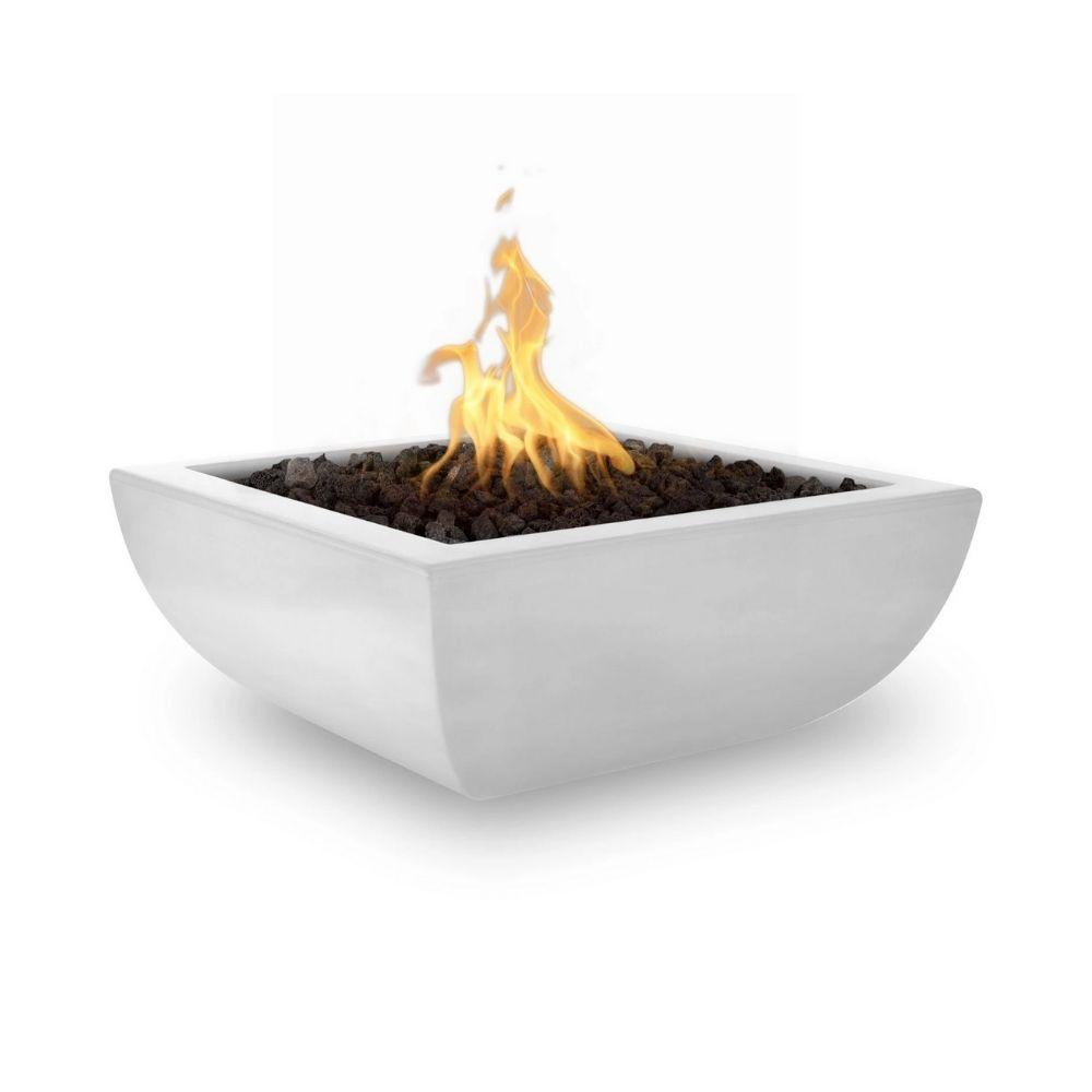 "Top Fires Avalon 36"" Square Concrete Gas Fire Bowl Limestone"