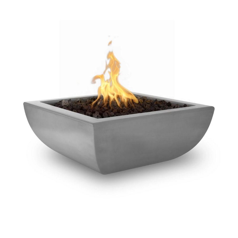 "Top Fires Avalon 36"" Square Concrete Gas Fire Bowl Natural Gray"