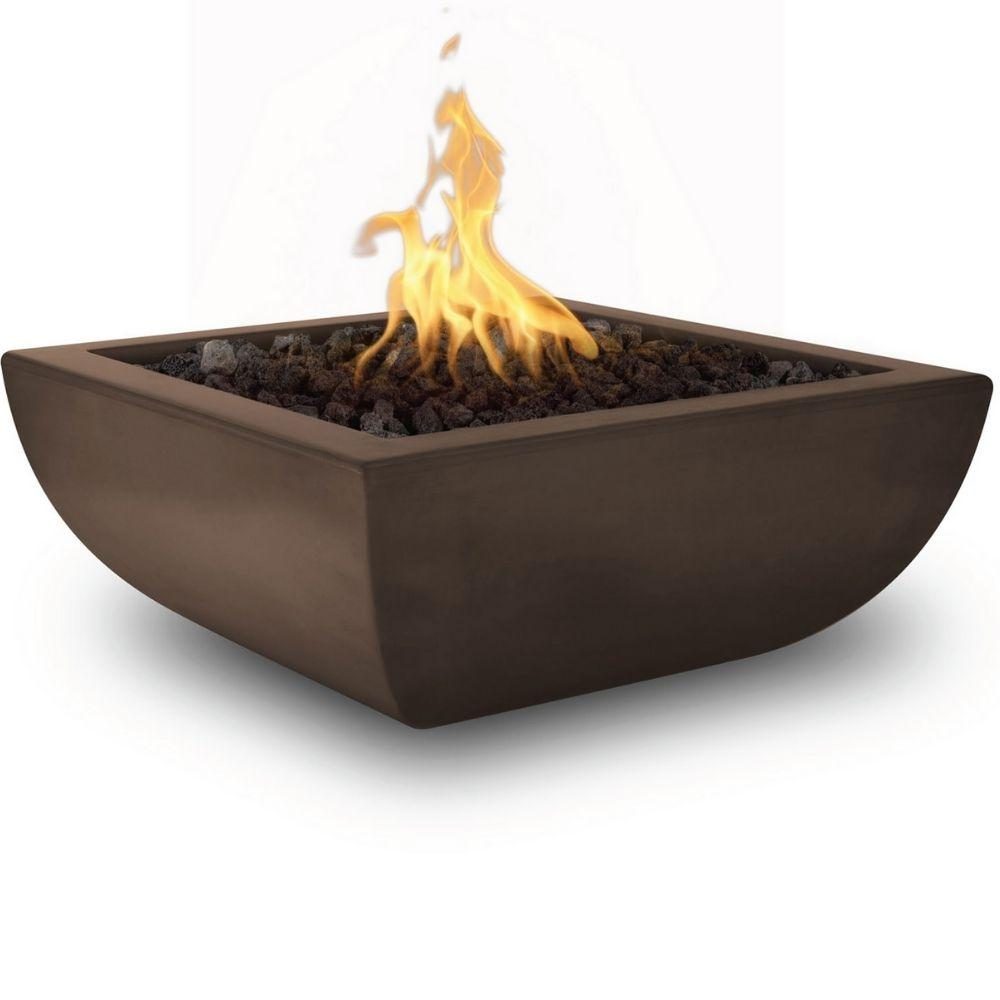 "Top Fires Avalon 36"" Square Concrete Gas Fire Bowl Chocolate"