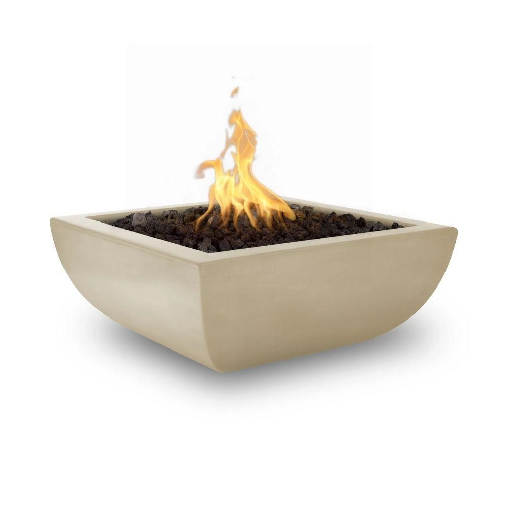 "Top Fires Avalon 36"" Square Concrete Gas Fire Bowl Vanilla"