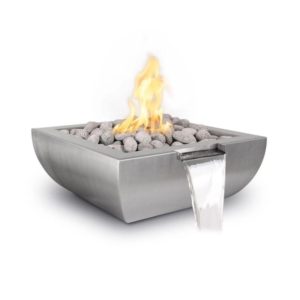 Top Fires Avalon Square Stainless Steel Gas Fire and Water Bowl - Match Lit