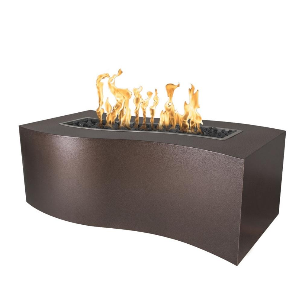 Top Fires Billow Rectangular Steel Gas Fire Pit Table in Copper Vein