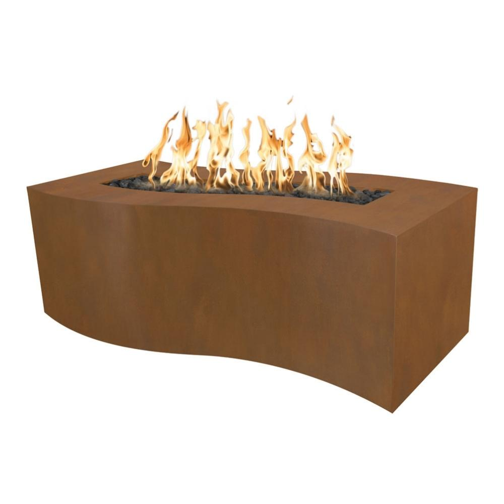 Top Fires Billow Rectangular Corten Steel Gas Fire Pit Table