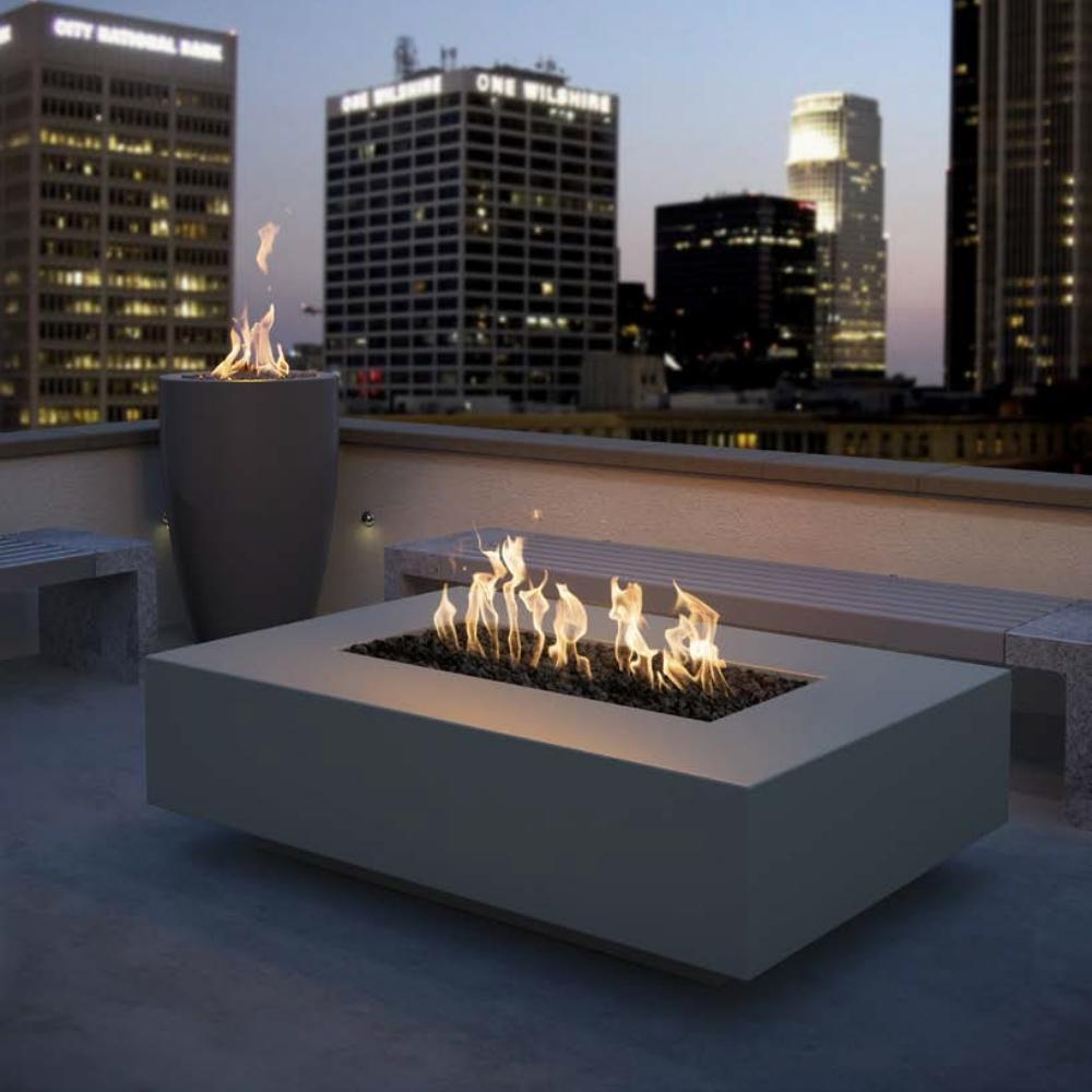 "Top Fires Cabo 56"" Linear GFRC Gas Fire Pit Table in Rooftop"