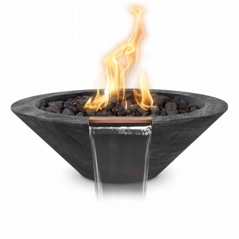 Top Fires Cazo Wood Grain Ebony GFRC Gas Fire and Water Bowl