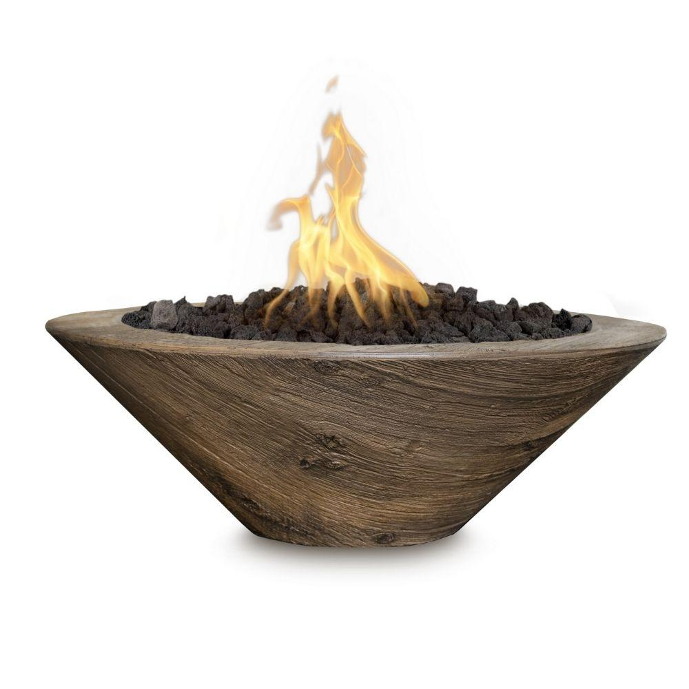 Top Fires Cazo Wood Grain OAK GFRC Gas Fire Bowl - Match Lit