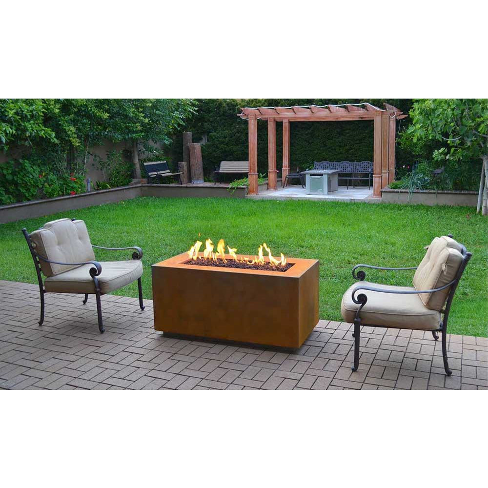 Top Fires Rectangular Corten Steel Fire Pit in outdoor patio