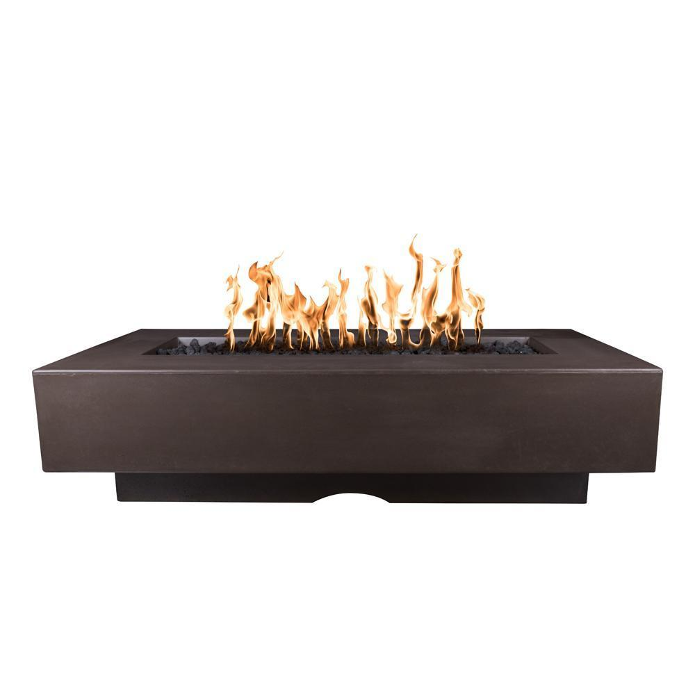 Top Fires Rectangular Del Mar GFRC Gas Fire Pit in Chocolate