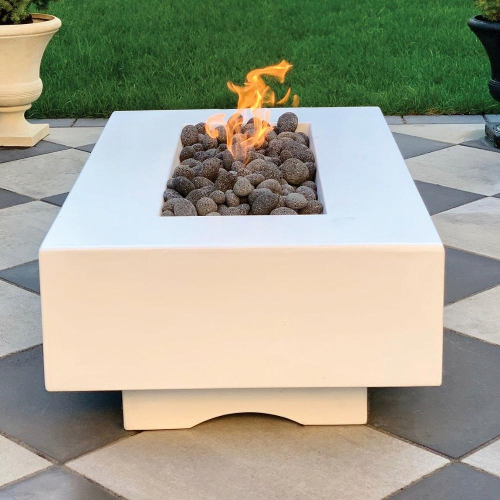 "Top Fires Del Mar 84"" Rectangular GFRC Gas Fire Pit Lifestyle"