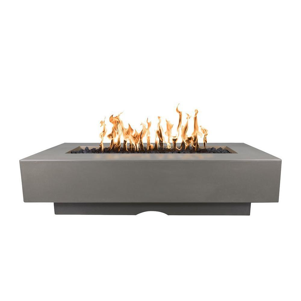 Top Fires Rectangular Del Mar GFRC Gas Fire Pit in Ash