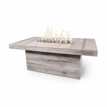 "Top Fires Grove 60"" Rectangular GFRC Fire Table in Ivory"