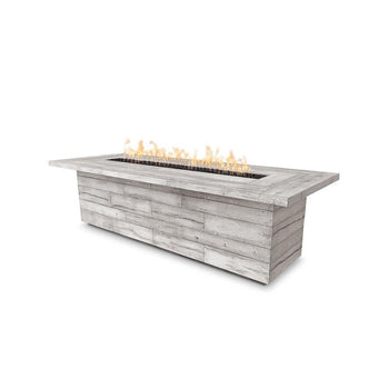 Top Fires Laguna Rectangular GFRC Fire Table in Ivory
