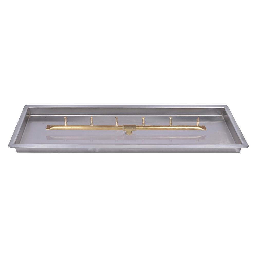 Top Fires Linear Bullet Gas Burner with Rectangular Drop In Pan