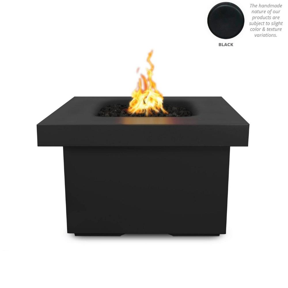 "Top Fires Ramona 36"" Square GFRC Gas Fire Pit Table in Black"