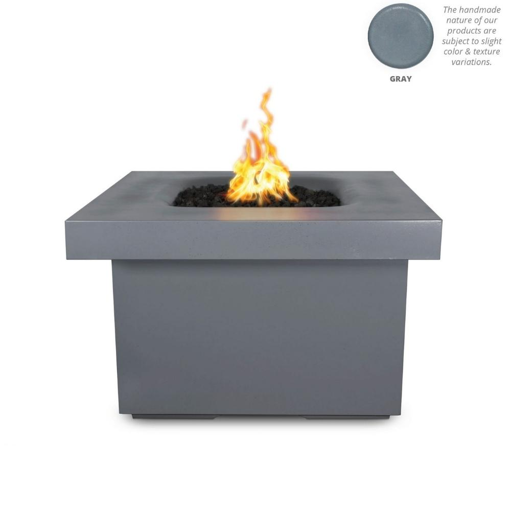 "Top Fires Ramona 36"" Square GFRC Gas Fire Pit Table in Gray"