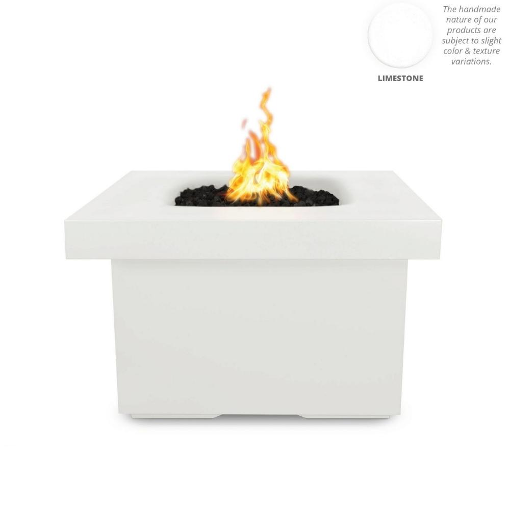 "Top Fires Ramona 36"" Square GFRC Gas Fire Pit Table in Limestone"