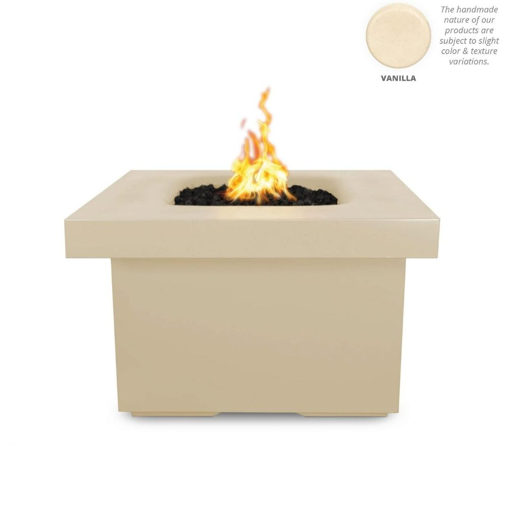 "Top Fires Ramona 36"" Square GFRC Gas Fire Pit Table in Vanilla"