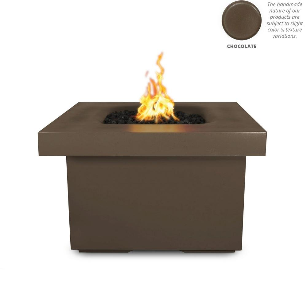 "Top Fires Ramona 36"" Square GFRC Gas Fire Pit Table in Chocolate"