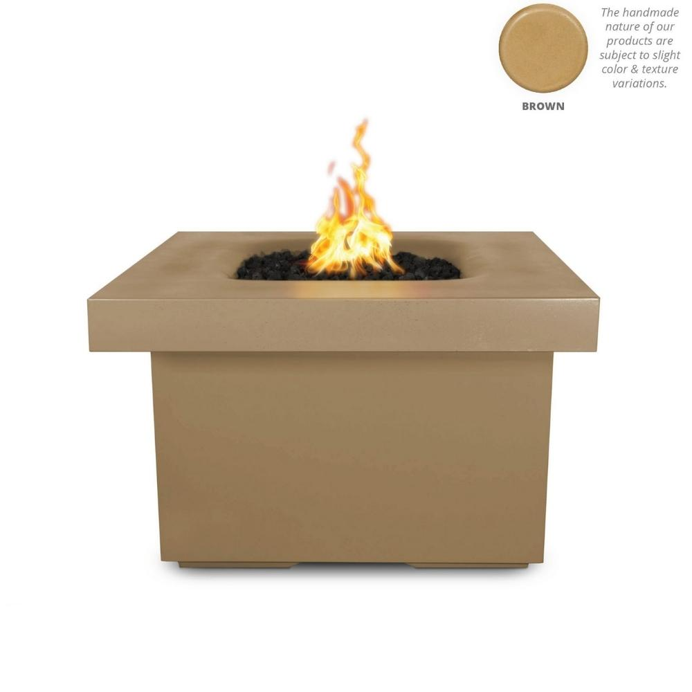 "Top Fires Ramona 36"" Square GFRC Gas Fire Pit Table in Brown"