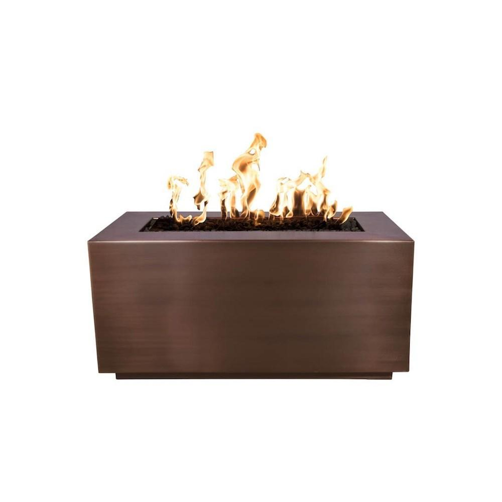 Top Fires Rectangular Copper Gas Fire Pit - Match Lit