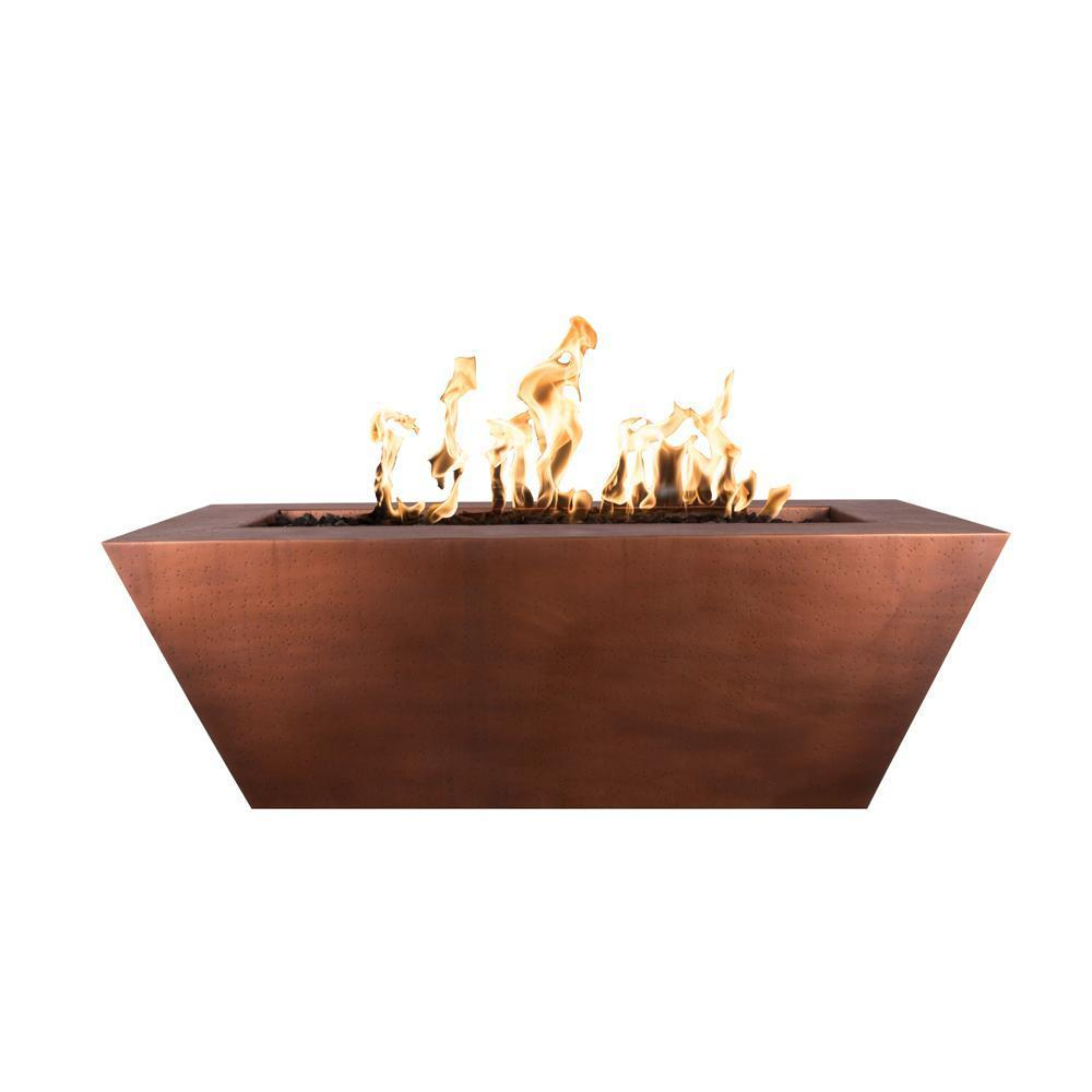 Top Fires Rectangular Tapered Copper Gas Fire Pit - Match Lit