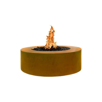 Top Fires Round Corten Steel Gas Fire Pit - Match Lit