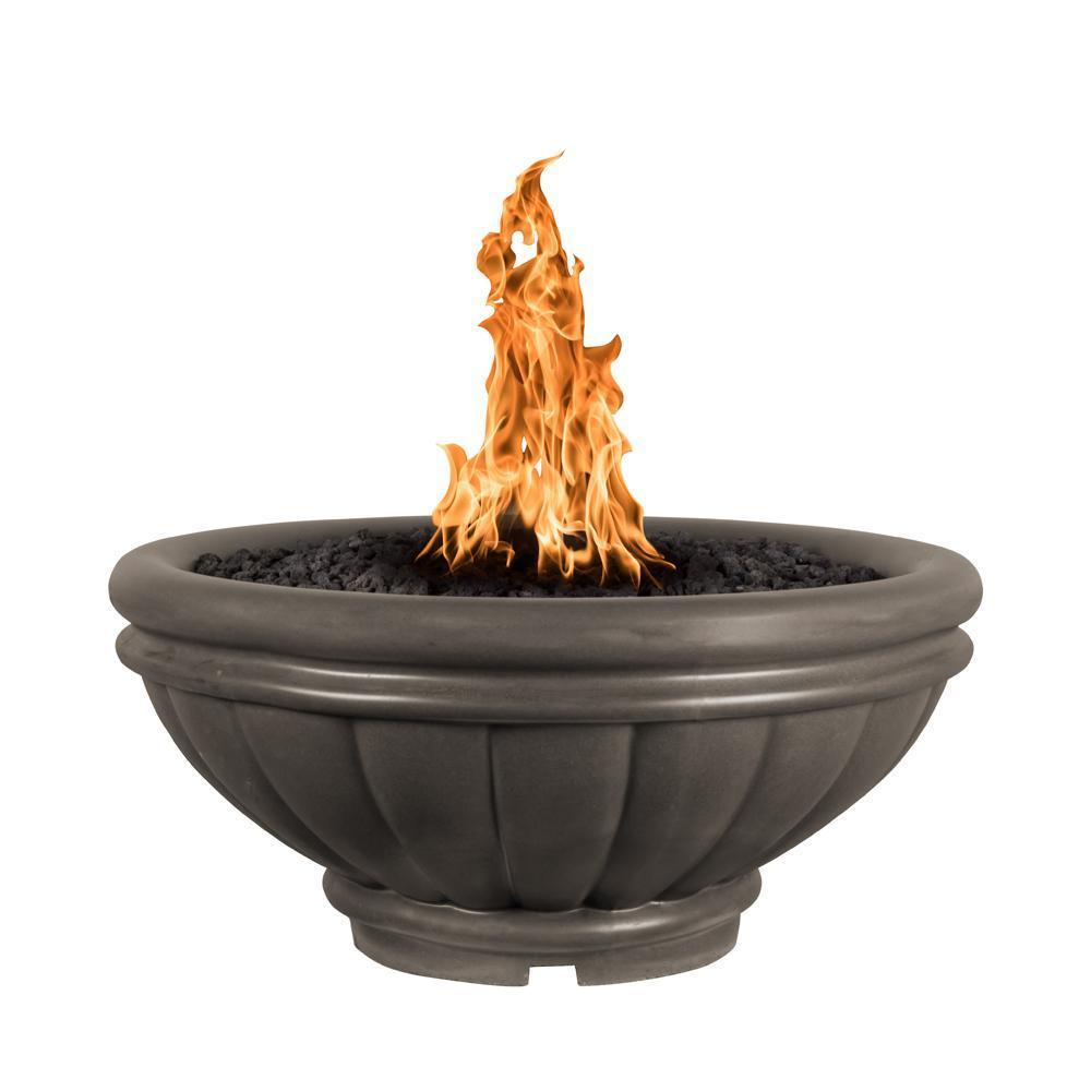 Top Fires Round Roma GFRC Gas Fire Pit - Match Lit