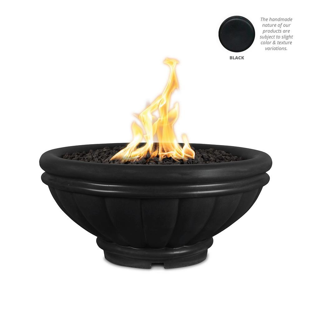Top Fires Round Roma GFRC Gas Fire Pit in Black