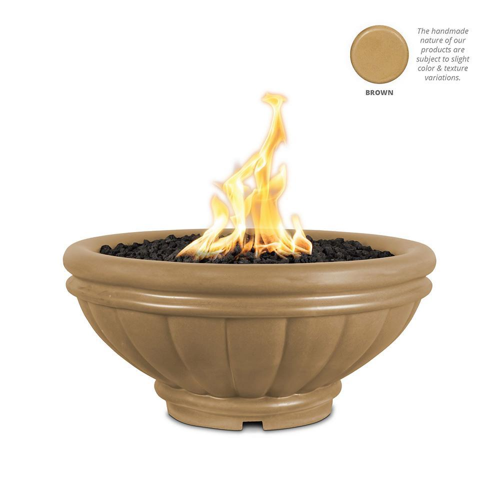 Top Fires Round Roma GFRC Gas Fire Pit in Brown