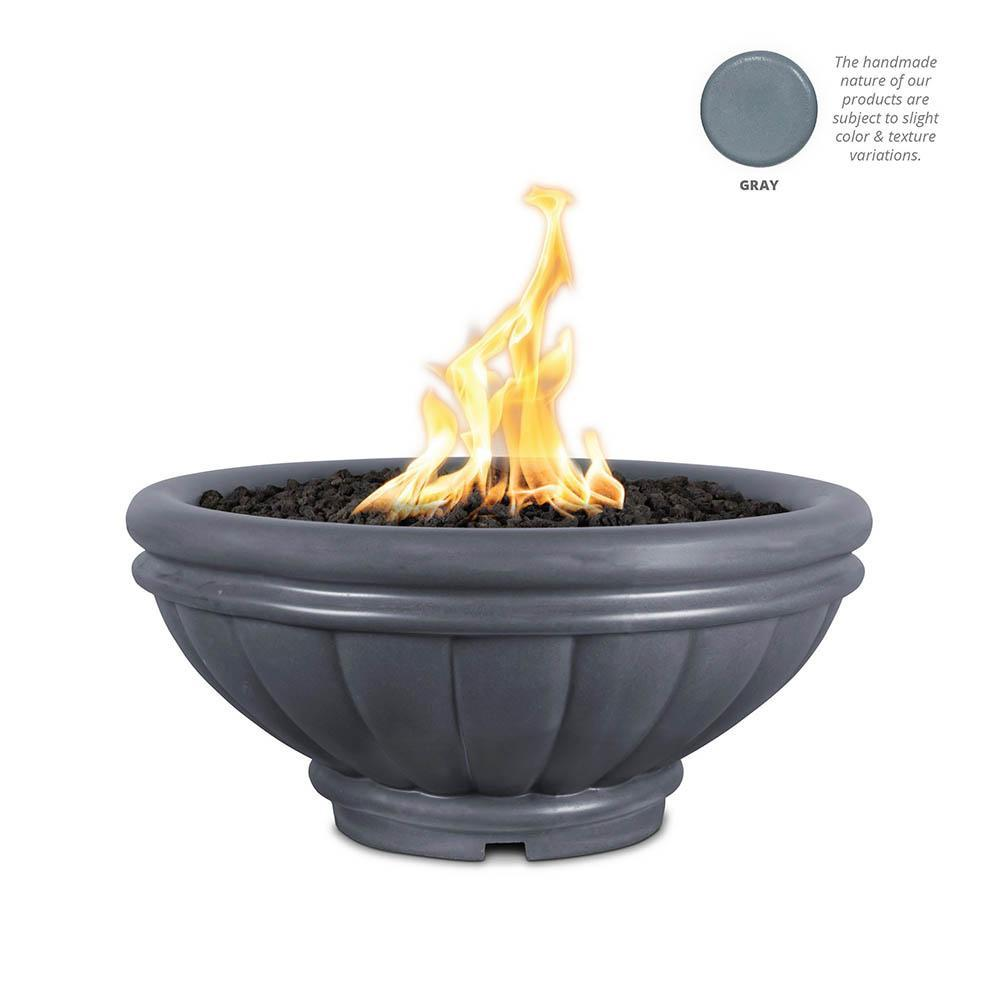 Top Fires Round Roma GFRC Gas Fire Pit in Gray