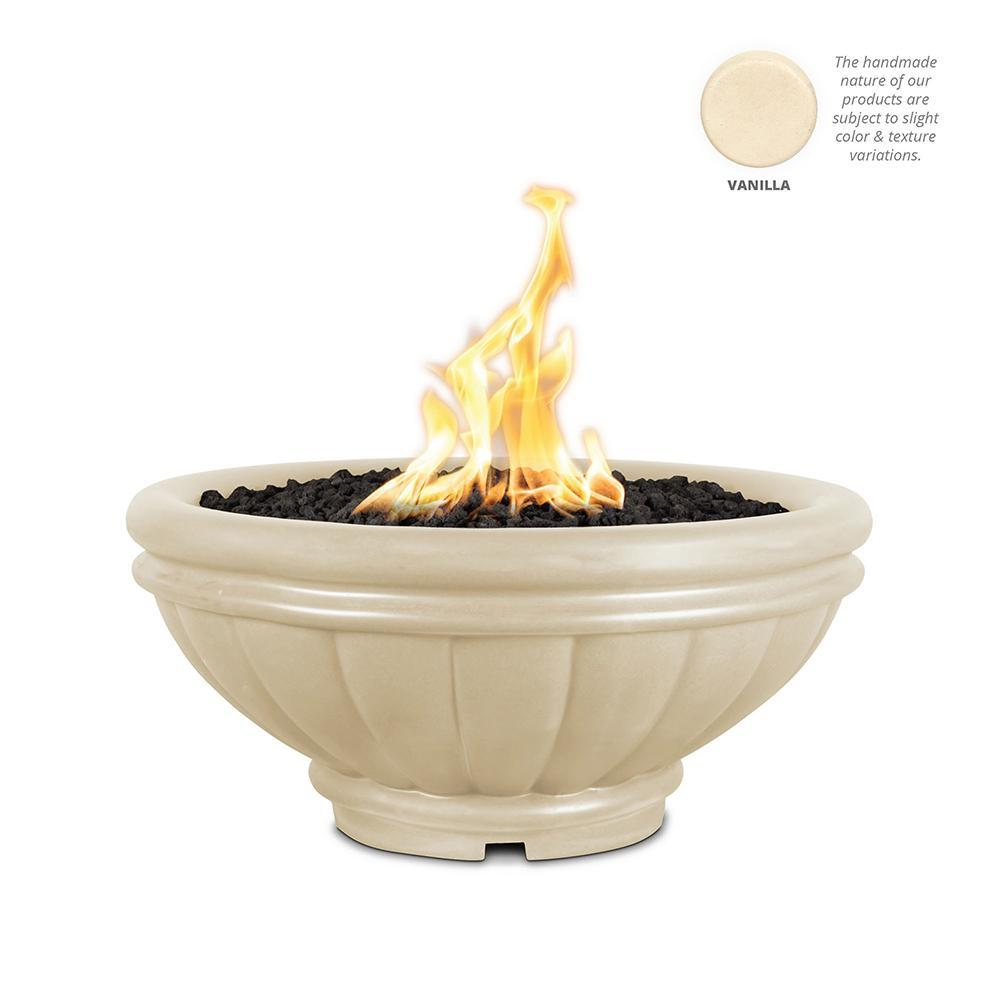 Top Fires Round Roma GFRC Gas Fire Pit in Vanilla