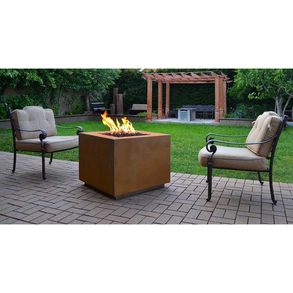 Top Fires Square Corten Steel Fire Pit in outdoor patio