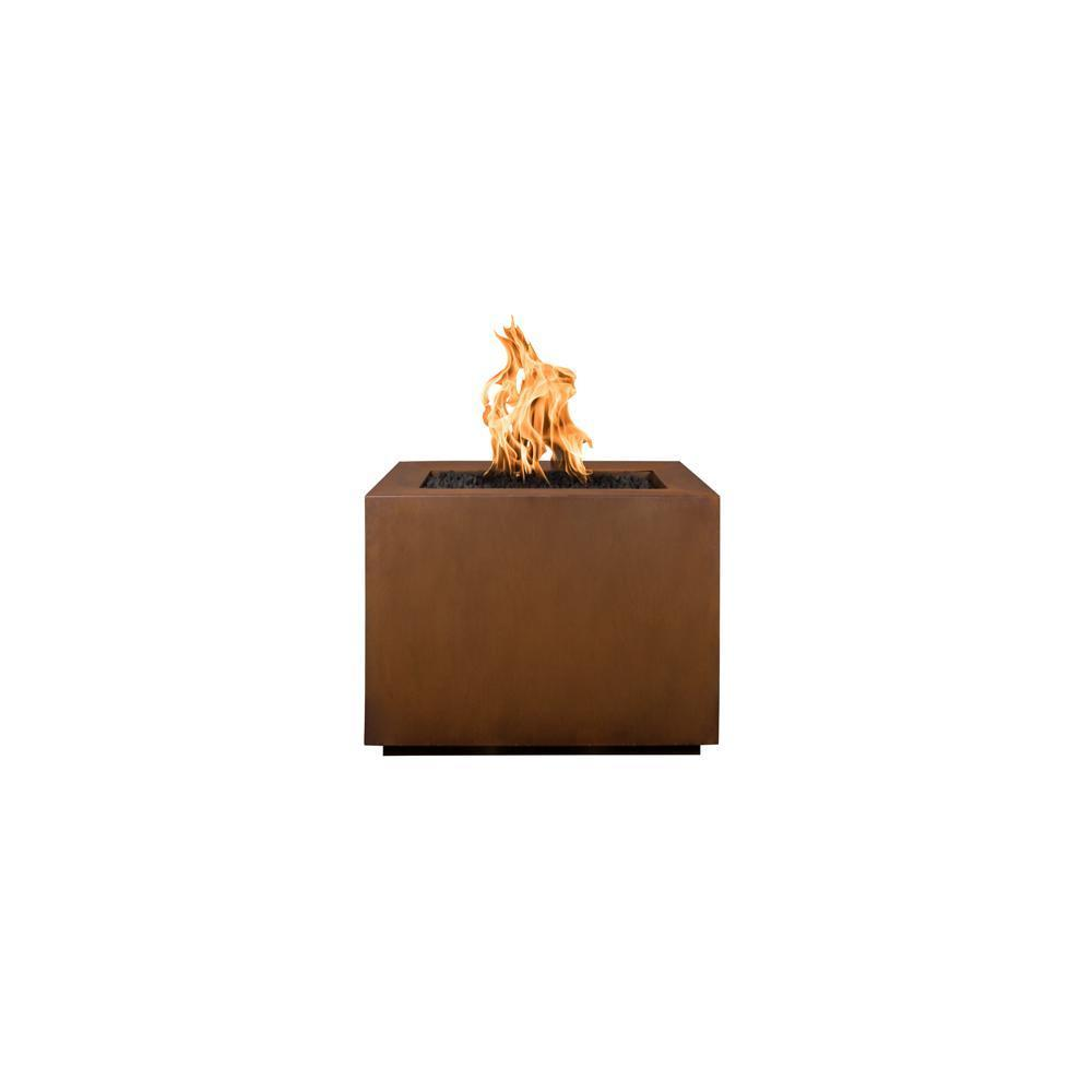 Top Fires Square Corten Steel Gas Fire Pit - Match Lit