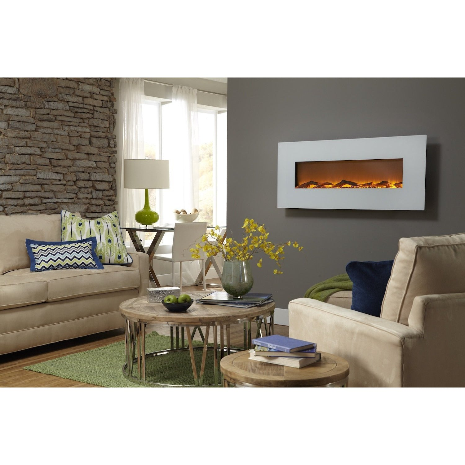Touchstone Ivory - Wall Mounted Electric Fireplace with White Frame (#80002)