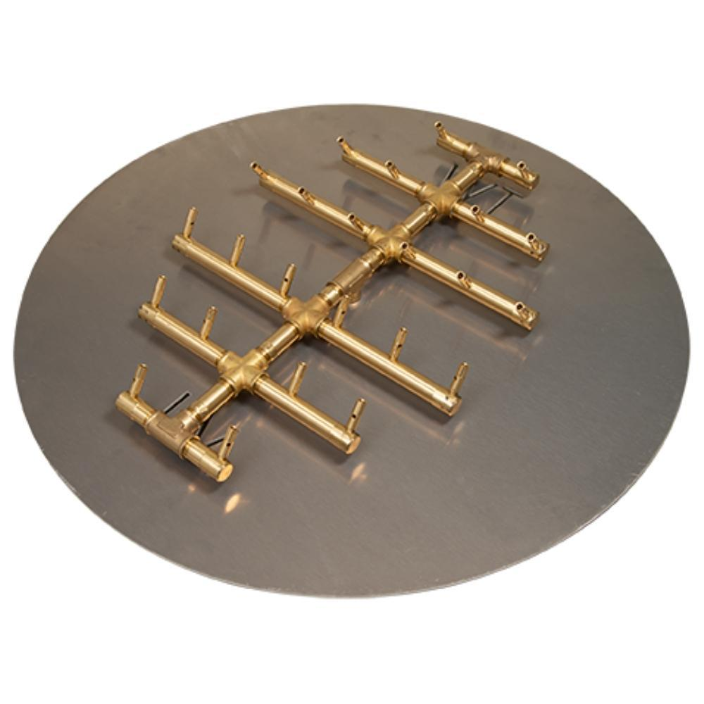 "Warming Trends CFBCT240 Circular Tree-Style CROSSFIRE™ 18"" Brass Gas Burner with 30"" Circular Plate"