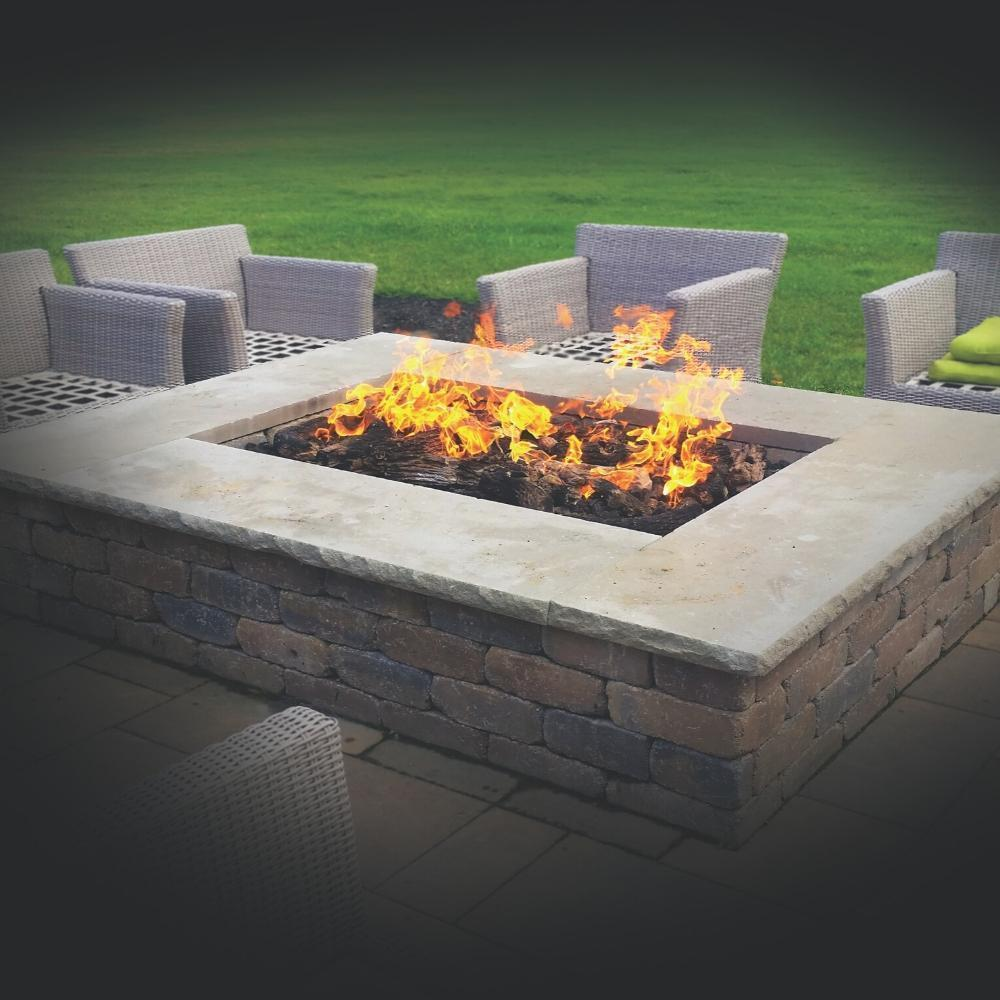 Fire Pit with Warming Trends H-Style CROSSFIRE™ Gas Burner