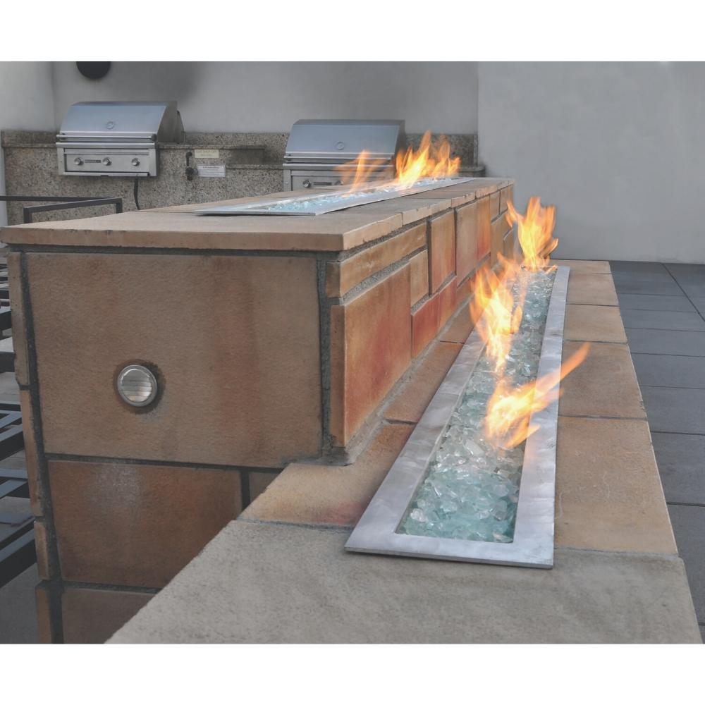Warming Trends Linear CROSSFIRE™ Brass Burners with Clear Fire Glass