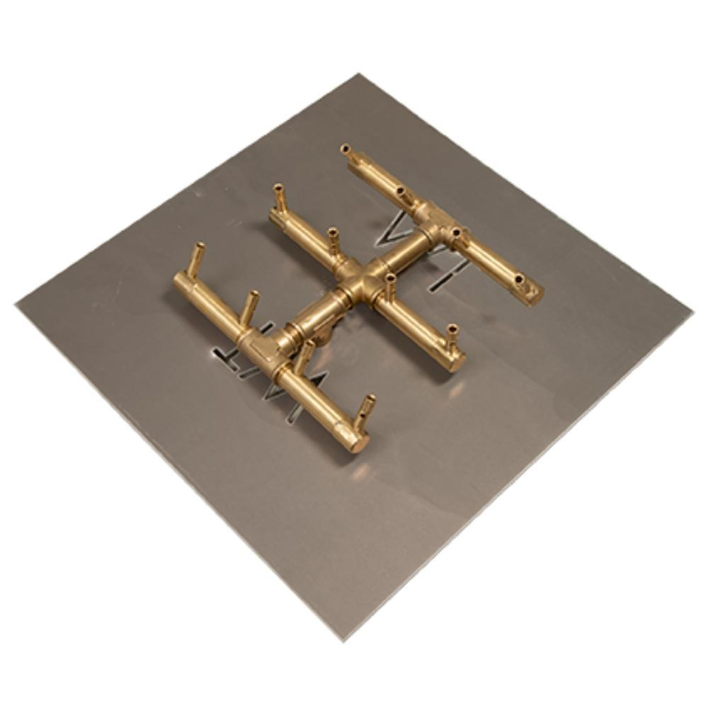 "Warming Trends CFBST120 Square Tree-Style CROSSFIRE™ 10"" Brass Gas Burner with 18"" Square Plate"