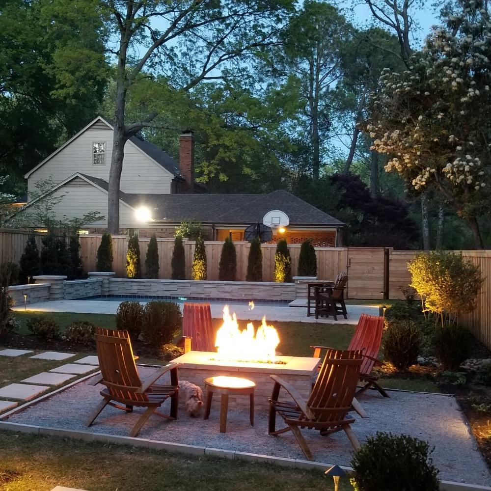 Rectangular Fire Pit in Outdoor Patio