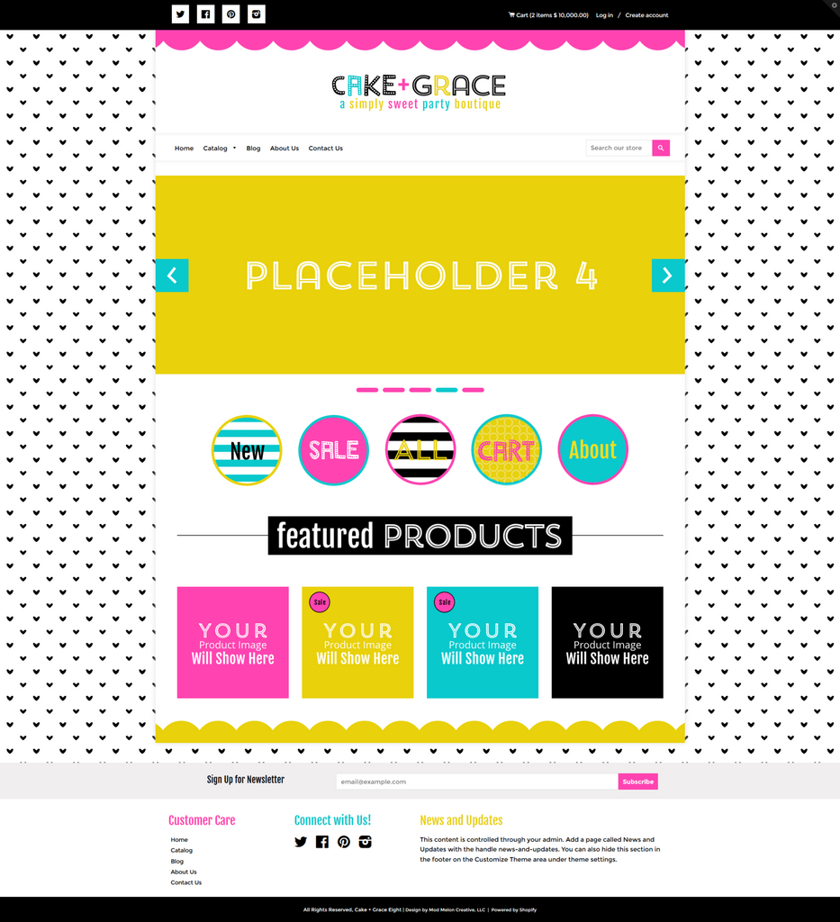 Cake + Grace Eight Mobile Responsive Shopify Theme