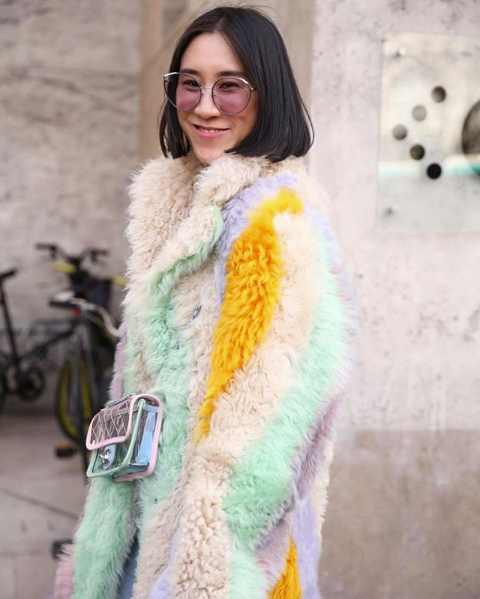 EVA CHEN WEARS FOR ART'S SAKE AW18 NEW COLLECTION DESIGNER SUNGLASSES CAT PURPLE AT PARIS FASHION WEEK PFW