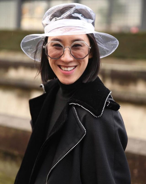 EVA CHEN WEARS FOR ART'S SAKE AW18 NEW COLLECTION DESIGNER SUNGLASSES SMOKEY GREY AT PARIS FASHION WEEK PFW