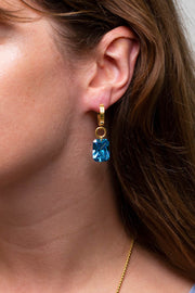 Water Lily Earrings Blue