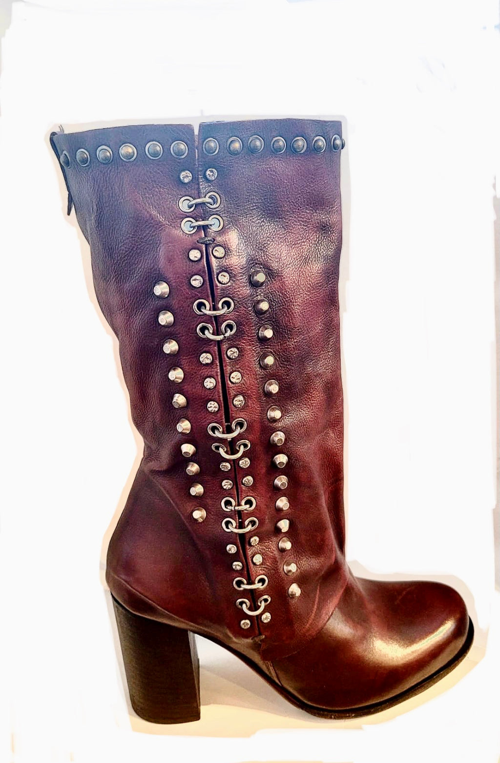AS98 studded detail boot oxblood