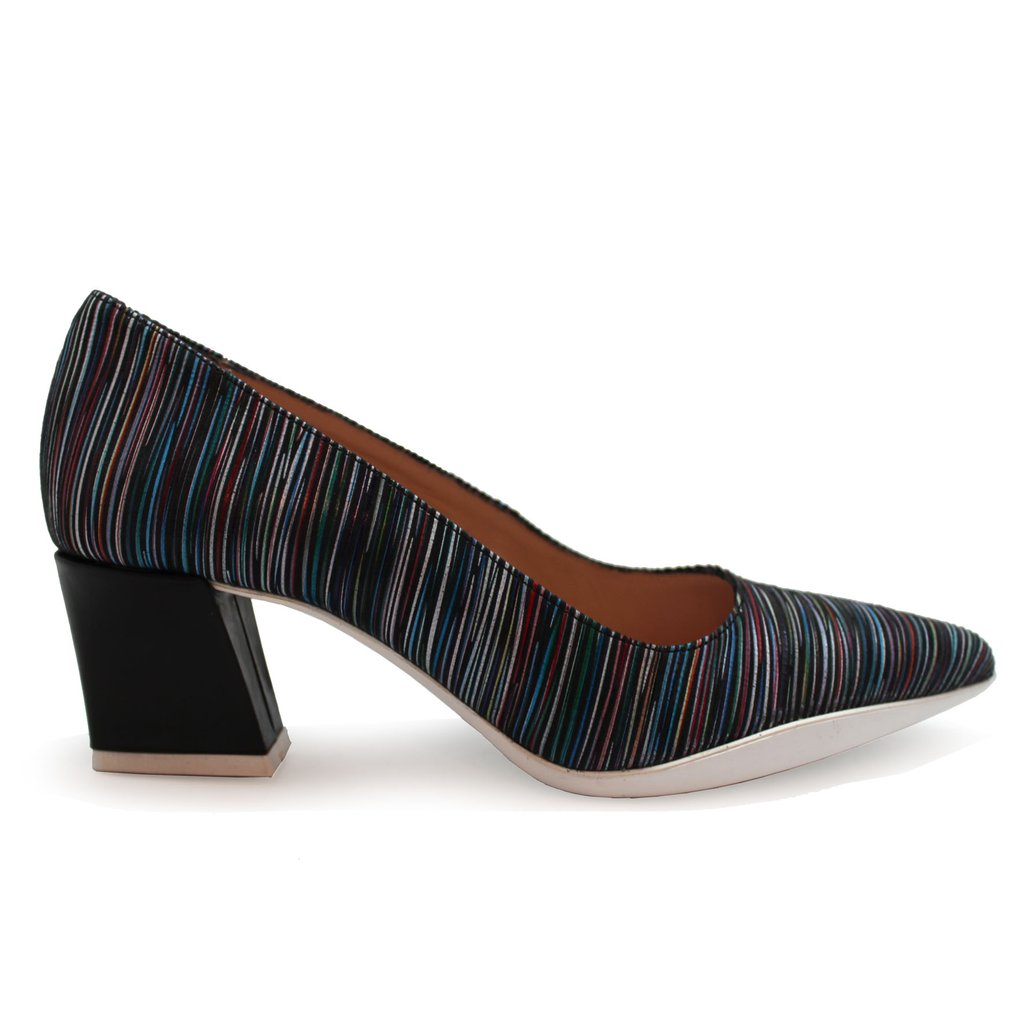 ChaniiB Lulu with black stripes shoe available at Shoe Muse