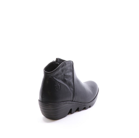Fly London Pevo in black short boot available at Shoe Muse
