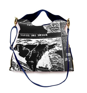 * NEW ChaniiB - RICHE Handbag  (Black Newsprint)