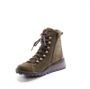 Fly London Malu Suede Sludge in Olive boot available at Shoe Muse